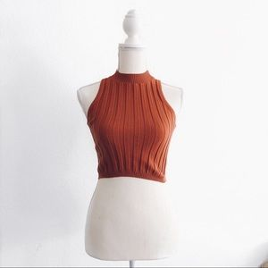 LF Rumor Boutique Rust Knit Ribbed Cropped Tank